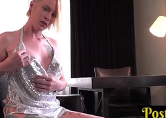 Bigtitted solitary tranny caresses their way clitoris