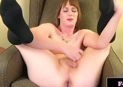 Lovely crude transsexual likes fake penis shtick